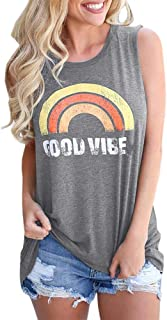 Good Vibes Tank Top Women Casual Tees Sleeveless Shirt Rainbow Blouse Cami Vest