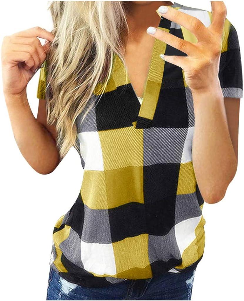 Women's Casual Cuffed 3/4 Long Sleeve Plaid Button Down Slim Shirts Blouse Tops