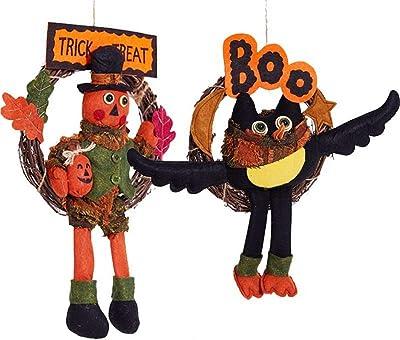 Wagsiyi-fd Decoración de Fiesta de Halloween 2 Pack Halloween Colgante de Pared Decoración de Flores Artificiales ...