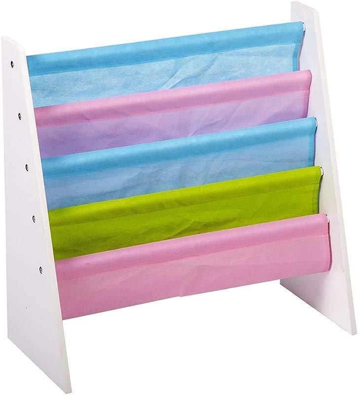 BestMassage Kids Sling Bookcase Wooden Children S Bookshelf W Pocket Storage Book Rack