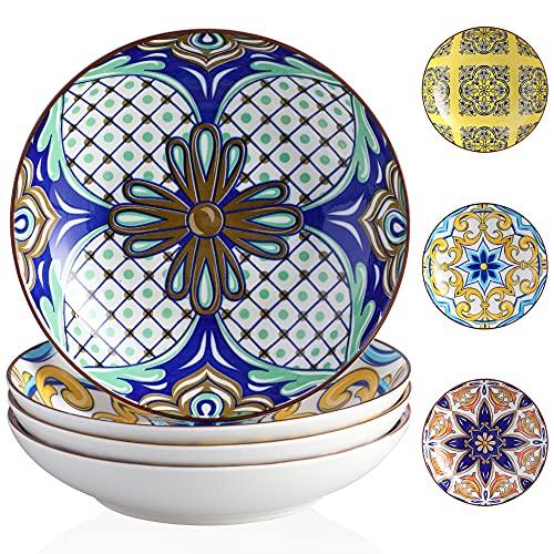 Suppenteller Porzellan, vancasso JASMIN 4 teilig Tiefteller bunt, Ø 21 cm, Geschirr Tellerset Suppenschalen, Aladin Serie, 700ml