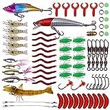 aulyun Señuelos de Pesca, 72 Piezas Kits de Señuelos Pesca Accesorios Cebos Artificiales Articulos de Pesca Incluido la Caja Tackle, Ganchos, Minnow, Cusanos y más
