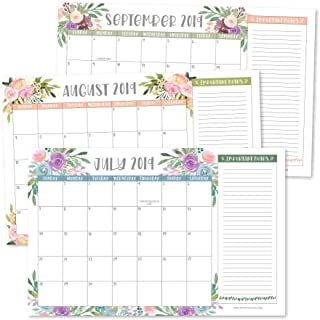 Floral 2019-2020 Large Monthly Desk or Wall Calendar Planner, Big Giant Planning Blotter Pad, 18 Month Academic Desktop, Hanging 2-Year Date Notepad Teacher, Mom Family Home Business Office 11x17