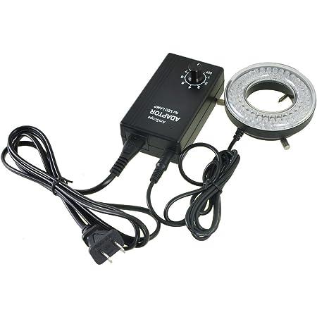 AmScope LED-60 60-LED Microscope Ring Light Illuminator with Control Box and Adapter