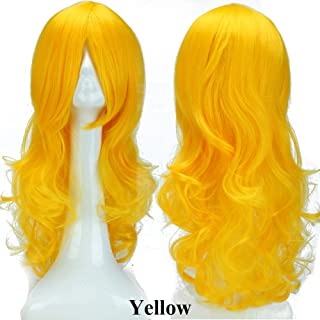 S-noilite 24inch(60cm) Women Cosplay Hair Wig Long Curly Wavy Fashion Anime Costume Party Dress Full Wigs Sexy Yellow