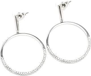Boucles d/'Oreilles Pendantes Double Demi Cercles Métal Brossé Argenté BO841E