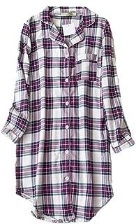 Women's Flannel 100% Cotton Nightgown Button Down Boyfriend Nightshirt Mid-Long Style Sleepshirt Pajama Tops