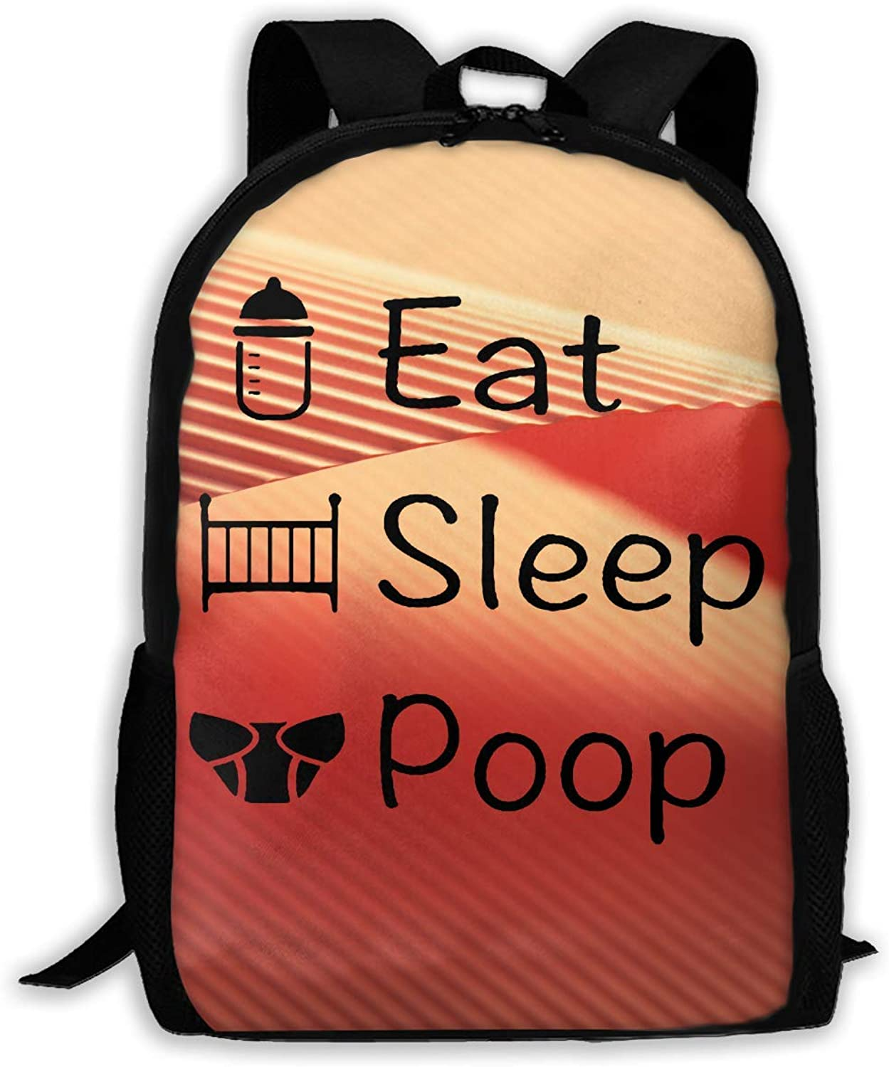 Fashion Eat Sleep Poop Printed Backpack Waterproof Canvas Canvas Canvas Hiking Bags for Men and damen B07QFVMRPH  Neues Design ecccc2