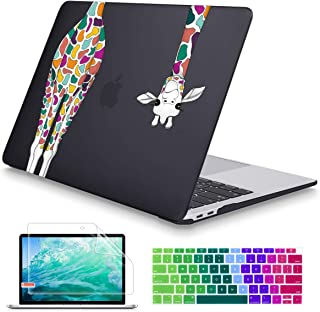 Maychen MacBook Air 13 inch Case 2020 2019 2018 Release A1932 A2179, Soft Touch (Newest Version) Hard Shell Cover for 13 inch MacBook Air Case with Retina Display Touch ID, Black Colorful Giraffe