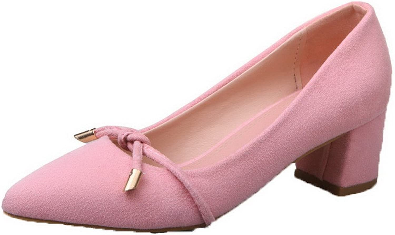 WeenFashion Women's Frosted Pull-On Kitten-Heels Pointed-Toe Solid Pumps-shoes