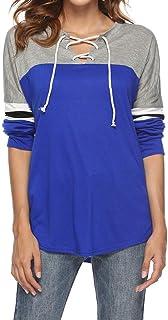Shirt Women V Neck Long Sleeve Elegant Loose Stretch Modern Drawstring Striped Patchwork Blouse Stretch Sweatshirt Fashion...
