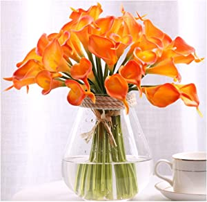 30pcs Calla Lily Artificial Flowers, Real Touch Fake Flowers Wedding Bouquet Home Party Decor Easter Spring Home Dining Room Office Decoration(Orange, 14