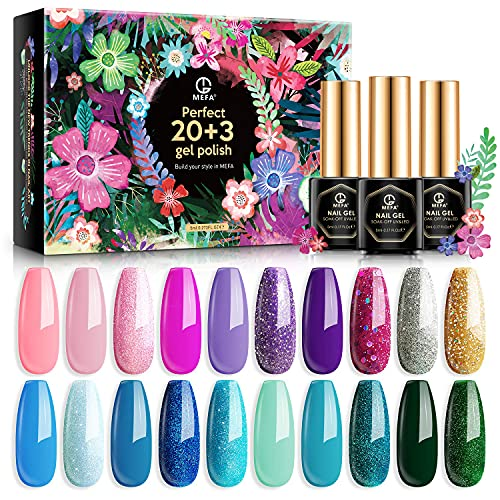 MEFA Gel Nagellack Set 23 Pcs mit Geschenkbox, Soak Off Pink Green LED Gel Nagel with No Wipe Base Coat Matt-Glänzende Top Coat Nagelgel für Nail Art Salon Set