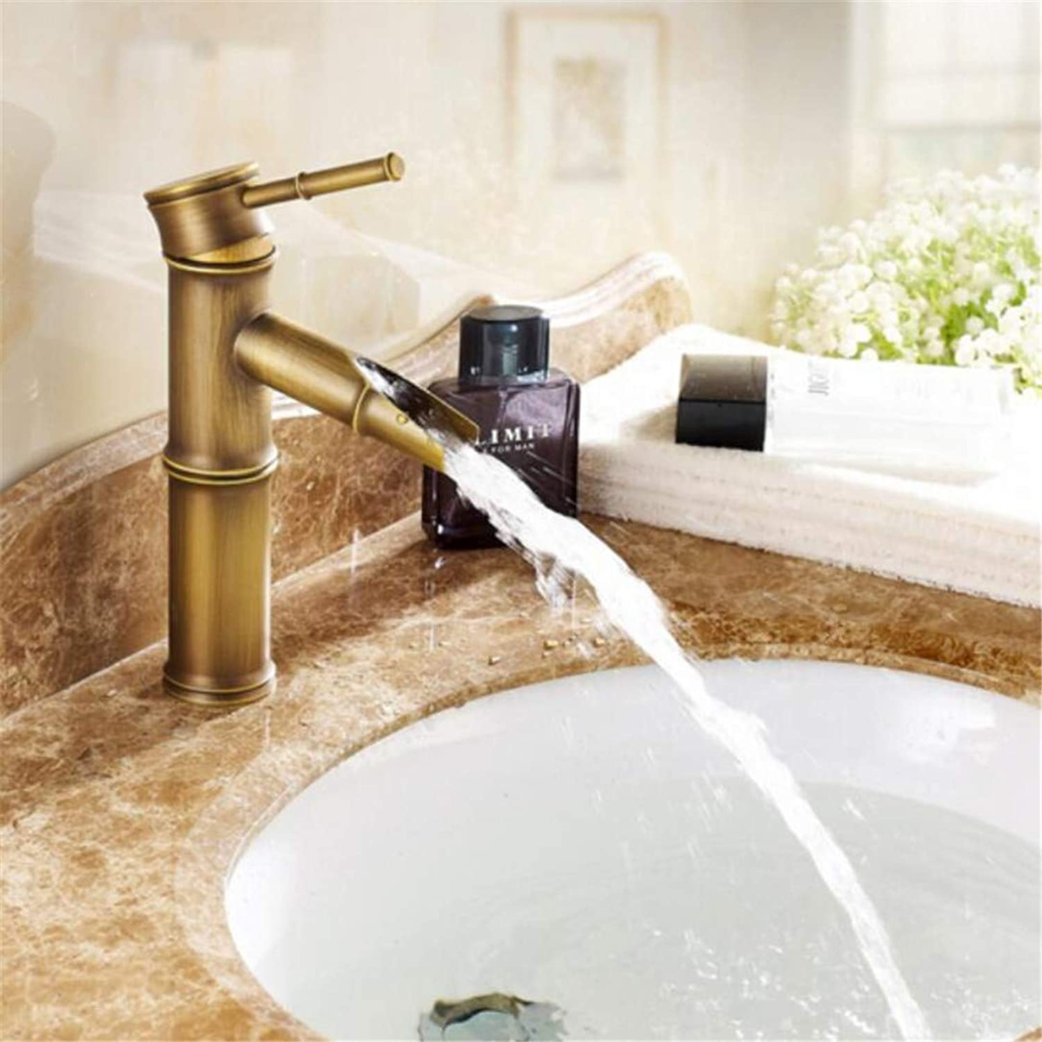 Faucet Washbasin Mixer Luxury High Quality Bronze Finished Cold and Hot Bamboo Single Lever Bathroom Sink Faucet Basin Faucet