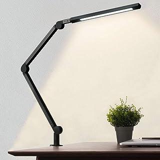 چراغ رومیزی با گیره ، لامپ میز بازوی محافظ چشم ، مراقبت از چشم ، لامپ ثابت و قابل تنظیم دمای رنگ لامپ معمار مدرن با عملکرد حافظه و زمان بندی برای مطالعه ، کار ، خانه ، دفتر ، 10W
