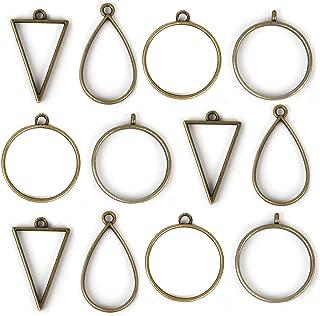 DROLE 40Pcs Open Back Bezel Pendants Assorted Geometric Hollow Frame Pendant Blanks for DIY Resin Crafts Bronze