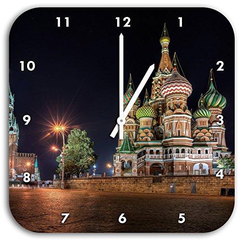 Stil.Zeit Basilius Kathedrale in Moskau, Wanduhr Quadratisch Durchmesser 28cm mit weißen Spitzen Zeigern und Ziffernblatt