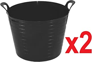 2 x BLACK 42 Litre Large Flexi Tub Garden Home Flexible Colour Rubber Storage Container Bucket Polyethylene Flex Tub - MADE IN U.K.