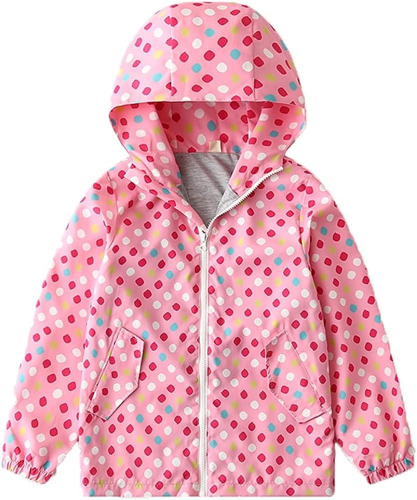 LPATTERN Kids Rain Jacket Hooded RainCoats for Girls Boys Waterproof Windproof Coat Spring Fall 4-8Y