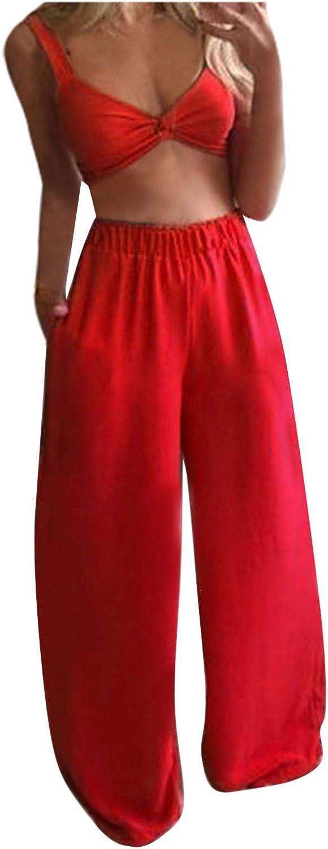LauVery Womens Bohemian Outfits Summer Lady Printed Pattern Tops + Long Pants 2Pcs Set
