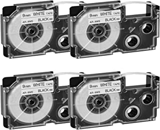 XR-9WE2S XR-9WE Label Tape Cartridges Compatible for Casio KL-120 KL-60 KL-100 KL-750 KL-780 KL-7000 KL-7200 KL-8100 EZ Label Printer 9 mm x 8 m Black on White, 4-Pack