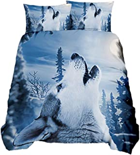 Suncloris, 3D Wolf Howling at Moon Comforter Bedding, Kids Adults Teens Blue Galaxy Animal Wolf Bedspread Quilt Cover Set....