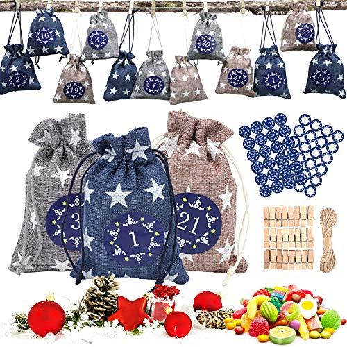 Adventskalender zum Befüllen,Jutesäckchen Klein,24 Adventskalender Kinder Tüten mit DIY Aufkleber Stoffsäckchen Weihnachtskalender Geschenksäckchen Selber Befüllen Stoffbeutel Weihnachten