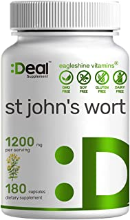 St. John's Wort 1200mg, 180 Capsules, Standardized to 0.3% Hypericins, Supports Sunny Mood, Clear Mind & Depression - Prem...
