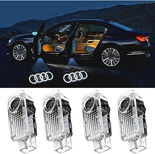 Car LED Door Light Logo Ghost Shadow Projector Laser Welcome Lights Symbol Emblem Courtesy Step Lights Ground Lamp Kit for Audi Series (4 Pack)