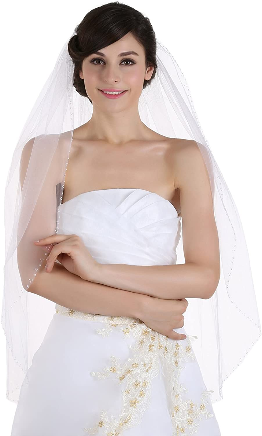 1T 1 Tier Beaded Edge Wedding Veil  Ivory Cathedral Length 108  V120