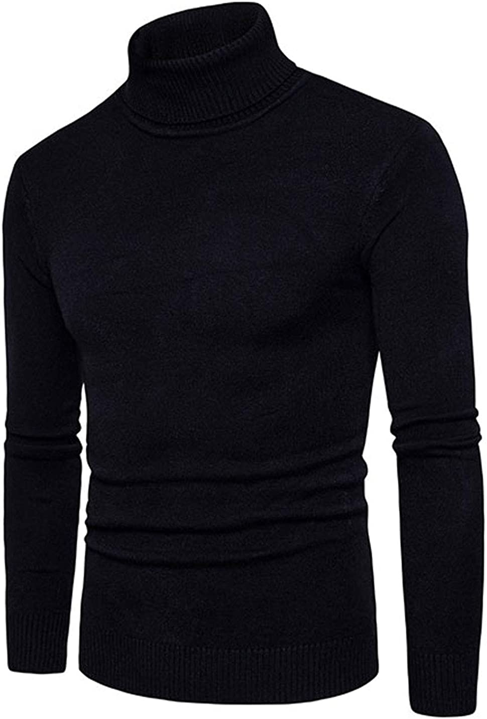 Flygo Men's Slim Fit High Neck Turtleneck Classic Long Sleeve Knitted Pullover Sweaters