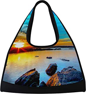 LORVIES Morning Sunrise Duffle Bag Shoulder Handy Sports Gym Bags Tennis Badminton Racket Bag for Men and Women