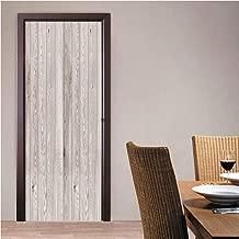 AngelJuan #06729 3D Self Adhesive Bedroom Door Sticker Door Murals Poster Wallpaper,White Washed Wood, Vinyl Removable Home Decoration 30.3