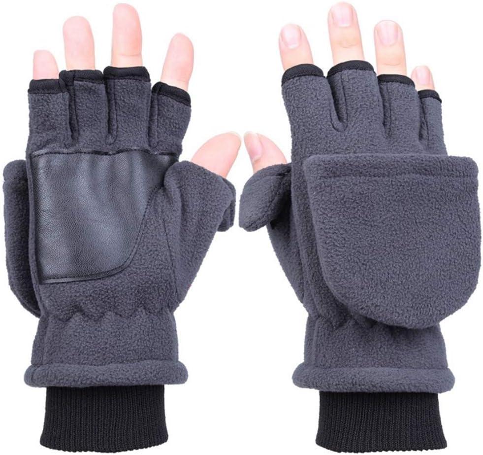 Redriver Unisex Winter Half Finger Flip Gloves,Touch Screen Fingerless Convertible Knitted Thicken Winter Mittens (1 Pair) (Men 21.5x12cm(8.46x4.72in), D# Gray(Men))