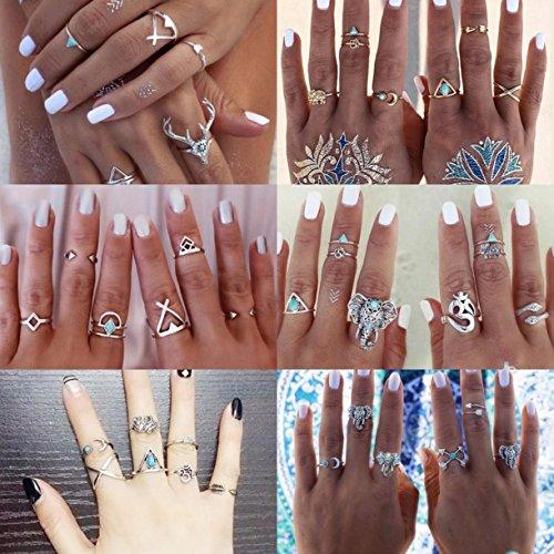 CHENGYIDA 38 unids/set turco plata color aleación incrustación verde cuentas dedo clavo midi anillos nudillos anillos para mujeres Boho fiesta joyería