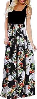 "JUTOO Women""s Dress Casual,Sleeveless,O-Neck, Printing Maxi Kleid,Tank Long Dress,Fashion"