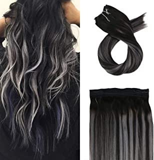 Moresoo 12 Inch Fishing Line Hair Extensions Natural Hair Extension Color #1B Off Black to Silver Mixed with #1B Black 50g Per Package Real Hair Extensions on Headband