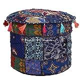 DK Homewares Tradicional Azul Oscuro Floral Puff Cubrir 18 X 18 X 13 Pulgadas Indio Tradicional 45 X 45 X 30 Cm Indian Decoración De La Habitación Cubierta Puff | Cover Only