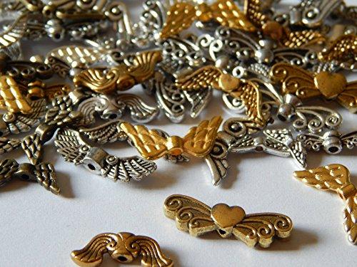 100 Engelflügel Flügel Perlen für Schutzengel Mix Metall Silber/Gold div Größen Formen