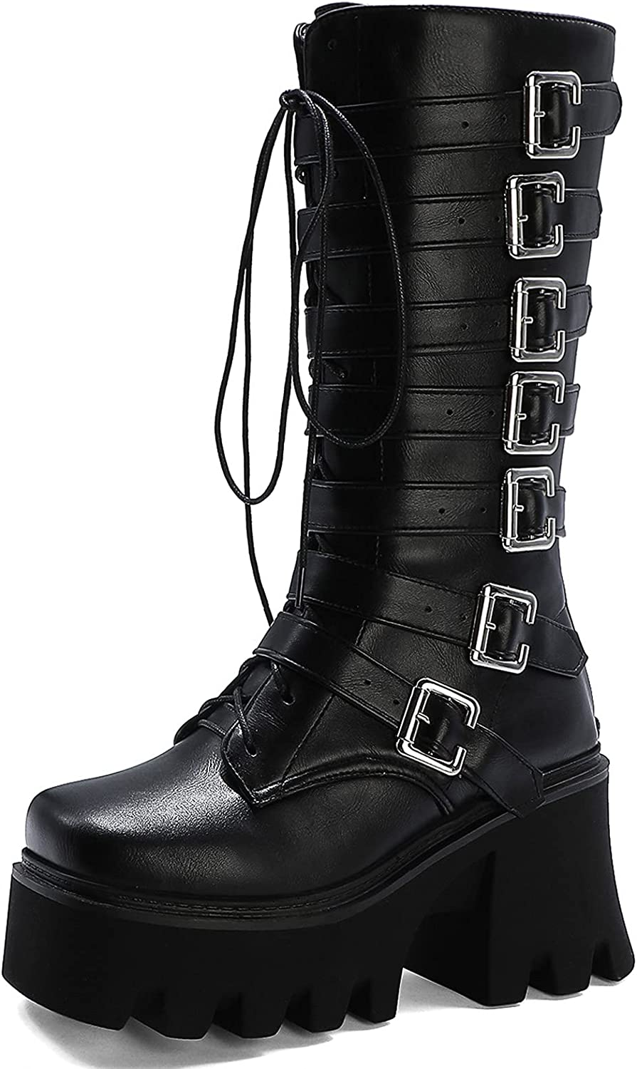 SaraIris Women's Platform Boots Goth Recommendation Hee Max 55% OFF Chunky Style Punk Block