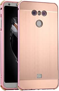 LG G6 Plus Case with Glass Screen Protector, ZLDECO Stylish Edge Shockproof Metal Frame +