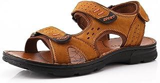 d6ba101df3735d FFTX Hommes Cuir Sandales Bas-Talon Fond Plat Bout Ouvert Velcro Chaussures  de Plage Confortable