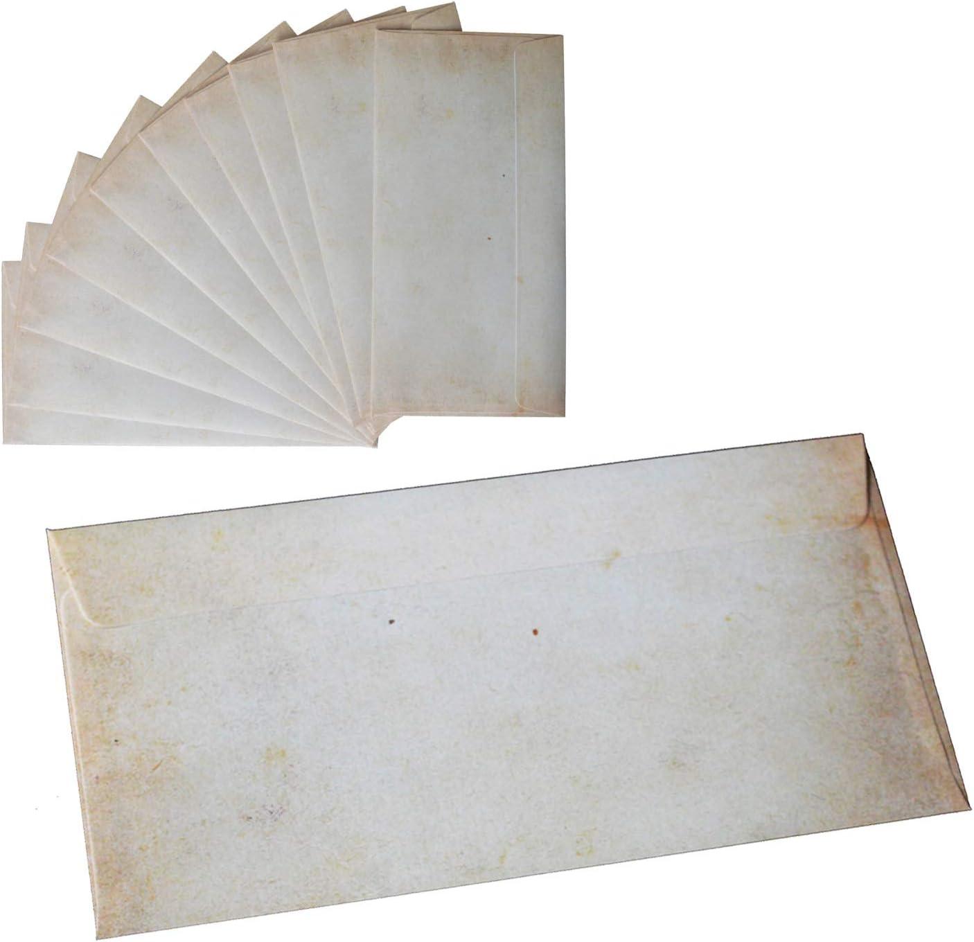 Vintage Briefumschl/äge im DIN Format 25 Umschl/äge beidseitig bedruckt ohne Fenster