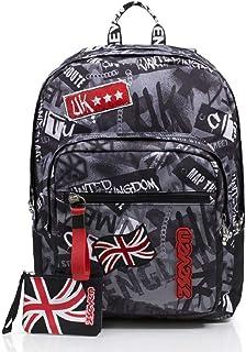 Mochila Extra Fit Seven, Keep Flag, Color Negro, con Power Bank Incluido, Escuela y Tiempo Libre