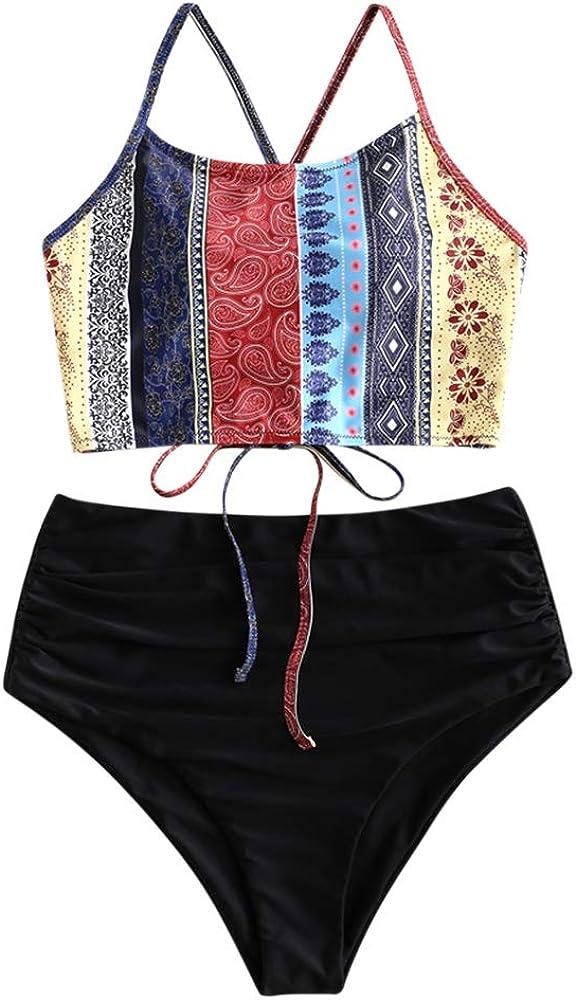 ZAFUL Women's Sunflower Tankini Set Ruched High Waisted Bathing Suit