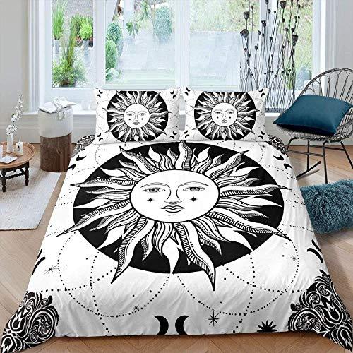 Touoahi Duvet Set Boho Black White Sun Moon Stripes Plant Floral Pattern King (230 X 220 Cm) Easy Care Cotton Blend Bedding 1 Quilt Cover And 2 Pillow Cases Bedroom Decorative Bed Set Zipper Closure