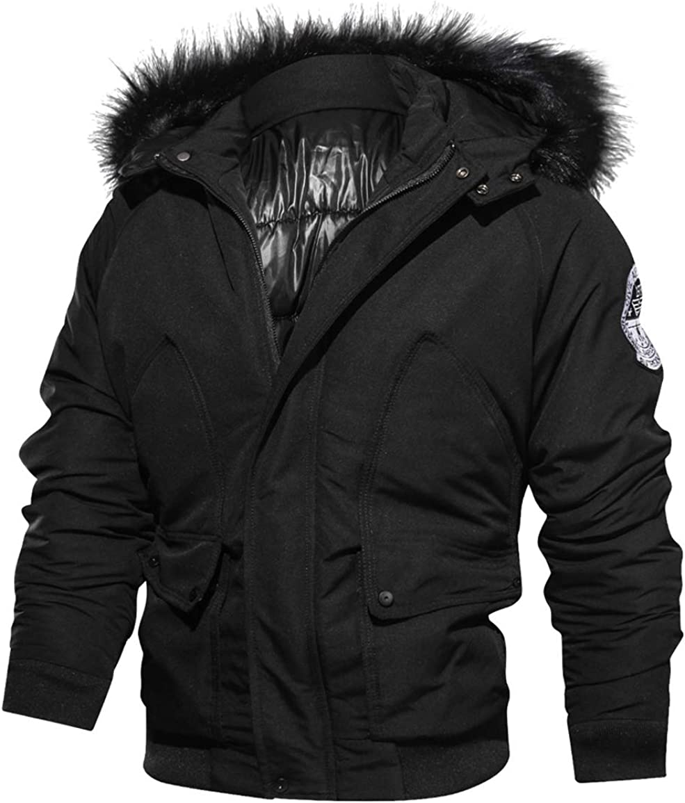 Itemnew Man's Military Faux Fur Hooded Sleeve Badge Thick Puffer Jacket Windbreaker
