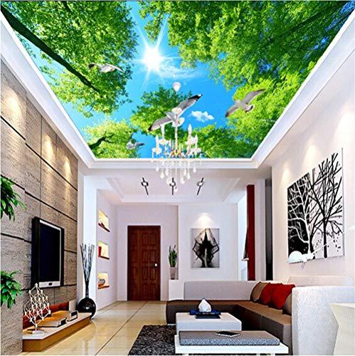 Mddjj Heimwerker Grüner Baum Sonnenschein Taube Fototapete Deckengemälde Hotel Hintergrund Decke Wandverkleidung Fresco Kunst Familie Kinderzimmer-250cmx175cm