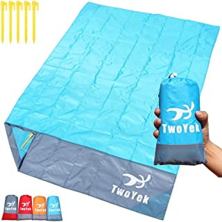 Outdoor Beach Blanket Picnic Mat - Lightweight Compact Portable Pocket Waterproof Sand Proof Beach Blanket for Travel Hiking Camping Park Sports Quick Drying 79″x 55″ or 82