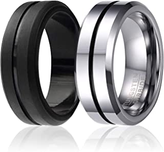 Twins - Set of 2-1 Tungsten Wedding Band and 1 Silicone Rubber Wedding Ring for Men, Classic Style